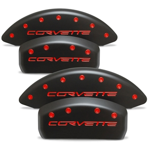 Corvette Brake Caliper Cover Set (4) : 2005-2013 C6 - Stealth Black Series - Custom Color Letters