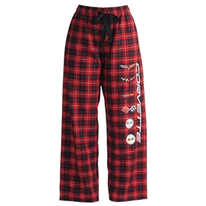 Corvette Ladies Flannel Pajama/Sweatpants - C1-C6 Generations Logos