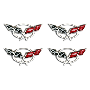"Corvette Wheel Domed Decals 1.75"" - Set of 4 : 1997-2004 C5 Logo"