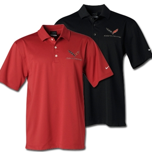 2014, 2015, 2016, 2017, C7 Corvette Polo - Men's Nike Dri Fit Performance Polo : Black, White or Pro Red