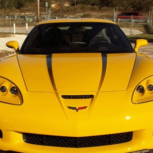 Corvette Hood Graphic Fade Stripe Decal 2Pc - Black : 2005-2013 C6, Z06, Grand Sport
