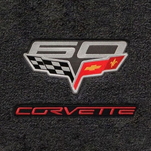 Corvette Lloyd Ultimat Floor Mats - 60th Anniversary above Flags w/Red Corvette Script : 2007.5-2013 C6, Z06, Grand Sport & ZR1- Ebony - Set of 2