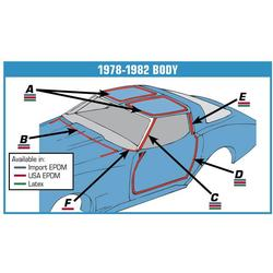 Corvette Weatherstrip Kit. Body 9 Piece - USA: 1978-1982