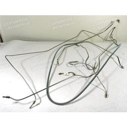 Corvette Brake Line Set. Stainless Steel W/Power Brake 1/4 Inch: 1965-1966
