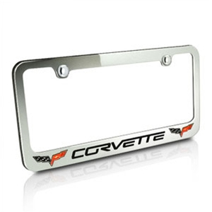 Corvette Script Chrome License Plate Frame w/Double Crossed Flags Logo : 2005-2013 C6