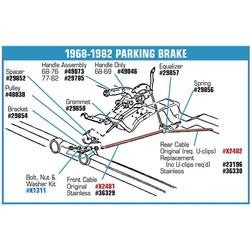 Corvette Rear Park Brake Cable Kit: 1965-1982