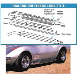 Corvette Side Exhaust Pipes. 327/350 Aluminized - Loud: 1968-1974