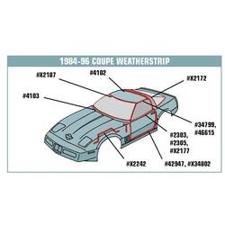 Corvette Weatherstrip Kit. Coupe Body 6 Piece - Latex: 1984-1989