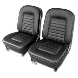 Corvette Driver Leather Seat Covers. Black: 1966