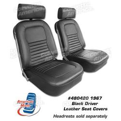 Corvette Driver Leather Seat Covers. Black: 1967