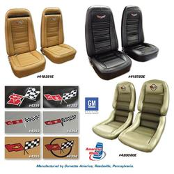 Corvette Embroidered Leather Seat Covers. Red Lthr/Vnyl Orig 4--Bolster: 1982