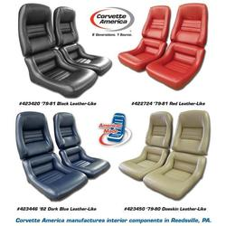 Corvette Mounted Leather Like Seat Covers. Green 2--Bolster: 1979