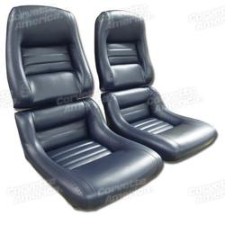Corvette Mounted Leather Like Seat Covers. Dark Blue 2--Bolster: 1979-1981