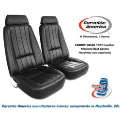 Corvette Mounted Seat Covers. Leather Like with Headrest Bracket 68 Late: 1968-1969