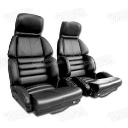 Corvette Leather Seat Covers. Black Sport: 1991-1992