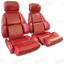 Corvette Mounted Leather Like Seat Covers. Red Standard: 1989-1992