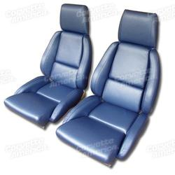Corvette Mounted Leather Seat Covers. Blue Standard No-Perforations: 1986-1988