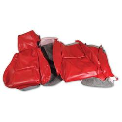 Corvette Leather Like Seat Covers. Red Standard No-Perforations: 1986-1988