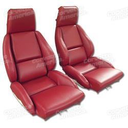 Corvette Mounted Leather Like Seat Covers. Red Standard No-Perforations: 1986-1988