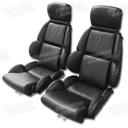 Corvette Mounted Driver Leather Seat Covers. Black Standard: 1989-1992