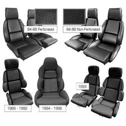 Corvette Mounted Driver Leather Seat Covers. Black Standard: 1994-1996