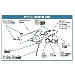 Corvette Door Handle Assemblies. Outside - Import: 1963-1964