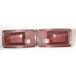 Corvette Door Latch Bezels. Red: 1978-1981